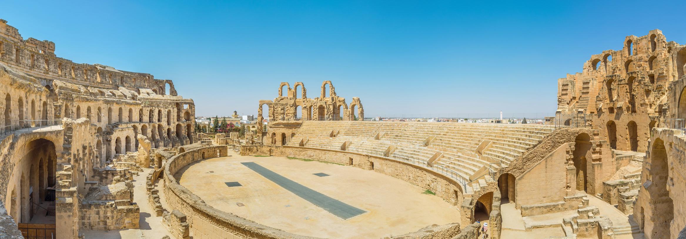 Les Arènes de El Jem, parfait example de l'art romain, Tunisie