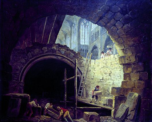 Violation des caveaux des rois dans la basilique de Saint Denis en octobre 1793. Huile sur toile. Dim : 0,54 X 0,64m. Paris, Musee Carnavalet